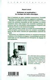 Schemes Et Motivation ; Le Lexique Du Latin Classique - 4ème de couverture - Format classique