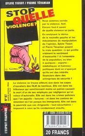 Stop Quelle Violence ? - 4ème de couverture - Format classique