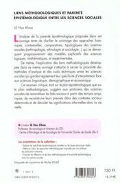 Liens Methodologiques Et Parente Epistemologique Entre Les Sciences Sociales - 4ème de couverture - Format classique