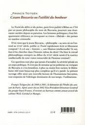 Cesare Beccaria ou l'utilité du bonheur - 4ème de couverture - Format classique
