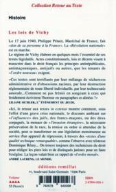 Lois De Vichy - 4ème de couverture - Format classique