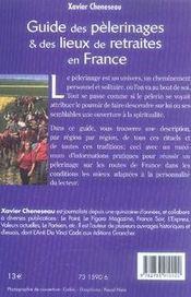 Guide des pèlerinages et des lieux de retraites en France - 4ème de couverture - Format classique