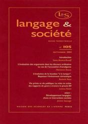 Revue Langage Et Societe N.105 ; Septembre 2003 - Couverture - Format classique