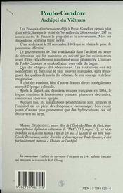Poulo-Condore, Archipel Du Vietnam ; Du Bagne Historique A La Nouvelle Zone De Developpement Economique - 4ème de couverture - Format classique