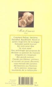 Mots d'amour - 4ème de couverture - Format classique