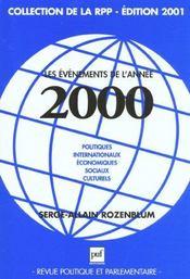 Revue Politique Et Parlementaire T.Hs; les évènements de l'année 2000 - Intérieur - Format classique