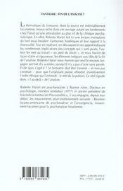 Fantasme : Fin De L'Analyse ? - 4ème de couverture - Format classique