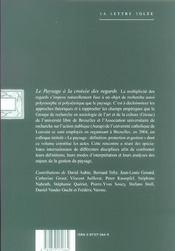 Paysage a la croisee des regards (le) - 4ème de couverture - Format classique