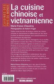 La cuisine chinoise et vietnamienne - 4ème de couverture - Format classique