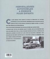 Merveilleuses automobiles à essence pour enfants - 4ème de couverture - Format classique