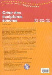 Créer des structures sonores ; PS, MS, GS - 4ème de couverture - Format classique