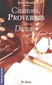 Citations Proverbes Et Dictons Poches - Couverture - Format classique