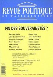 Revue Politique Et Parlementaire N.1012 ; Fin Des Souverainetés ? - Intérieur - Format classique