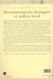 Investissements Etrangers Et Milieu Local - 4ème de couverture - Format classique