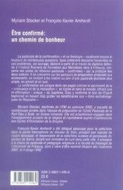 Etre Confirme : Un Chemin De Bonheur - 4ème de couverture - Format classique