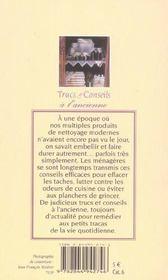 Trucs Et Conseils A L'Ancienne (Poche) - 4ème de couverture - Format classique