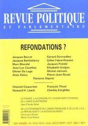 Revue Politique Et Parlementaire N.1013 ; Refondations ? - Intérieur - Format classique