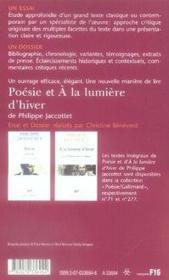 Poésie et à la lumière d'hiver de philippe jaccottet - Couverture - Format classique