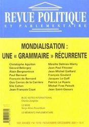 Revue Politique Et Parlementaire N.1015 ; Mondialisation : Une