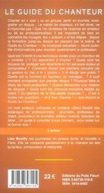 Guide Du Chanteur. Chanson, Varietes, Rock... Renseignementspratiques Pour Formation Et Travail Chan - 4ème de couverture - Format classique