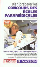 Bien Preparer Les Concours Des Ecoles Du Paramedical - Intérieur - Format classique