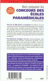 Bien Preparer Les Concours Des Ecoles Du Paramedical - 4ème de couverture - Format classique