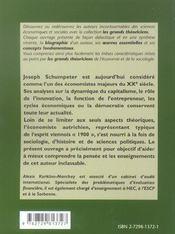 Joseph Schumpeter ; vie, oeuvres, concepts - 4ème de couverture - Format classique