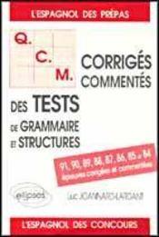 Qcm Des Tests De Grammaire Et Structures Espagnol Concours Epreuves Corriges Commentes De 84 A 91 - Intérieur - Format classique