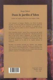 Dans le jardin d'iden - 4ème de couverture - Format classique