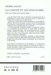Laicite Et Les Pouvoirs (La) - 4ème de couverture - Format classique