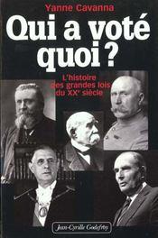 Qui A Voté Quoi ? L'Histoire Des Grandes Lois Du Xxe Siècle - Intérieur - Format classique