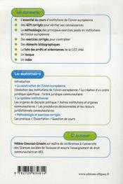 Institutions de l'union européenne - 4ème de couverture - Format classique