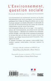 L'Environnement, Question Sociale - 4ème de couverture - Format classique