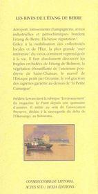 Les Rives De L'Etang De Berre ; Bouches-Du-Rhone - 4ème de couverture - Format classique