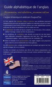Guide alphabétique de l'anglais - 4ème de couverture - Format classique