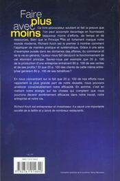 Le Principe 80-20 ; Faire Plus Avec Moins - 4ème de couverture - Format classique