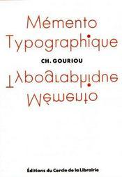 Memento typographique - Intérieur - Format classique