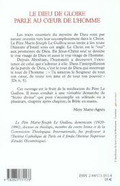 Dieu De Gloire Parle Au Coeur De L'Homme - 4ème de couverture - Format classique