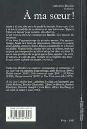 A MA SŒUR ! Scénario - 4ème de couverture - Format classique