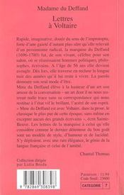 Lettres A Voltaire - 4ème de couverture - Format classique