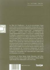 Sens De L'Indecence (Le) - 4ème de couverture - Format classique