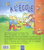 A L'Ecole - 4ème de couverture - Format classique