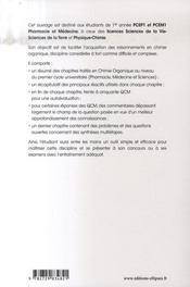 Chimie organique ; résumé de cours, qcm et exercices corrigés - 4ème de couverture - Format classique