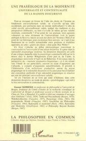 Praxeologie De La Modernite(Une) Universalite Et Conte - 4ème de couverture - Format classique