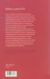 Balzac, suite et fin - 4ème de couverture - Format classique