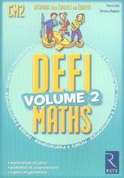 Defi Maths ; Cm2 ; T.2 ; Fiches A Photocopier - Intérieur - Format classique