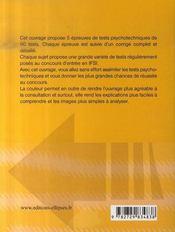 Tests psychotechniques ; 5 épreuves corrigées ; ifsi - 4ème de couverture - Format classique