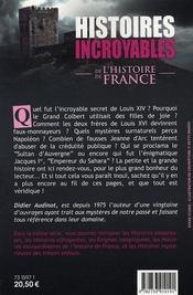 Histoires Incroyables De L'Histoire De France - 4ème de couverture - Format classique