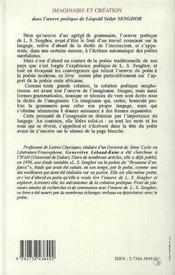 Imaginaire Et Creation Dans L'Oeuvre Poetique De Leopold Sedar Senghor - 4ème de couverture - Format classique
