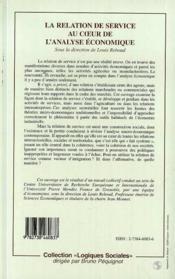 La Relation De Service Au Coeur De L'Analyse Economique - 4ème de couverture - Format classique